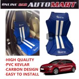 Sparzo Kevlar Carbon 3D Seat Cushion Seat Mat 1 Pc MADE IN THAILAND (BLUE+WHITE LINE) For CITROEN C4