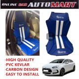 Sparzo Kevlar Carbon 3D Seat Cushion Seat Mat 1 Pc MADE IN THAILAND (BLUE+WHITE LINE) For CITROEN DS5