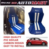 Sparzo Kevlar Carbon 3D Seat Cushion Seat Mat 1 Pc MADE IN THAILAND (BLUE+WHITE LINE) For AUDI A1