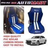Sparzo Kevlar Carbon 3D Seat Cushion Seat Mat 1 Pc MADE IN THAILAND (BLUE+WHITE LINE) For AUDI A4