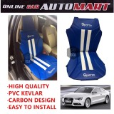 Sparzo Kevlar Carbon 3D Seat Cushion Seat Mat 1 Pc MADE IN THAILAND (BLUE+WHITE LINE) For AUDI A5