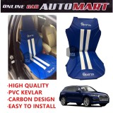 Sparzo Kevlar Carbon 3D Seat Cushion Seat Mat 1 Pc MADE IN THAILAND (BLUE+WHITE LINE) For AUDI Q5