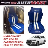 Sparzo Kevlar Carbon 3D Seat Cushion Seat Mat 1 Pc MADE IN THAILAND (BLUE+WHITE LINE) For AUDI Q7