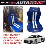 Sparzo Kevlar Carbon 3D Seat Cushion Seat Mat 1 Pc MADE IN THAILAND (BLUE+WHITE LINE) For AUDI R8
