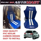 Sparzo Kevlar Carbon 3D Seat Cushion Seat Mat 1 Pc MADE IN THAILAND (BLUE+WHITE LINE) For ALFA ROMEO 147