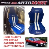 Sparzo Kevlar Carbon 3D Seat Cushion Seat Mat 1 Pc MADE IN THAILAND (BLUE+WHITE LINE) For ALFA ROMEO 164/166