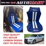 Sparzo Kevlar Carbon 3D Seat Cushion Seat Mat 1 Pc MADE IN THAILAND (BLUE+WHITE LINE) For LEXUS LS460