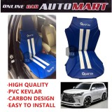 Sparzo Kevlar Carbon 3D Seat Cushion Seat Mat 1 Pc MADE IN THAILAND (BLUE+WHITE LINE) For LEXUS LX570