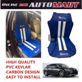 Sparzo Kevlar Carbon 3D Seat Cushion Seat Mat 1 Pc MADE IN THAILAND (BLUE+WHITE LINE) For LEXUS CT200H