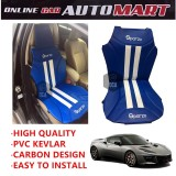 Sparzo Kevlar Carbon 3D Seat Cushion Seat Mat 1 Pc MADE IN THAILAND (BLUE+WHITE LINE) For LOTUS EVORA 400