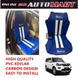 Sparzo Kevlar Carbon 3D Seat Cushion Seat Mat 1 Pc MADE IN THAILAND (BLUE+WHITE LINE) For MAHINDRA SCORPIO