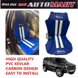 Sparzo Kevlar Carbon 3D Seat Cushion Seat Mat 1 Pc MADE IN THAILAND (BLUE+WHITE LINE) For HUMMER H3/H4