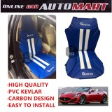 Sparzo Kevlar Carbon 3D Seat Cushion Seat Mat 1 Pc MADE IN THAILAND (BLUE+WHITE LINE) For MASERATI GRANCABRIO