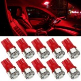 20XRed T10 LED Car Light Bulbs T10 W5w 5 SMD 5050 Super Bright 194 168 2825 Wedge LED Car Lights Source Replacement Bulbs Rear Side Interior Lamps
