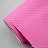 3D Carbon Fiber Decal Vinyl Film Wrap Roll Adhesive Car Sticker Sheet Pink