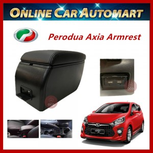 Perodua Axia PVC Adjustable Arm Rest Armrest Center Console Box Black Leather with USB Charger Port