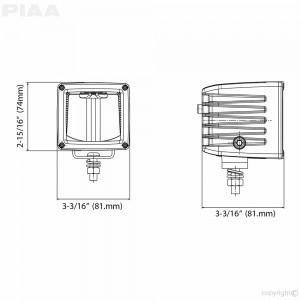 """PIAA RF3 DKRF35X 6000K 3"""" RF SERIES LED CUBE LIGHT DRIVING BEAM 12V"""