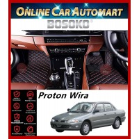 BOSOKO 5D CARPET For Proton Wira (1993-2009) Car Floor Mat Carpet Full Set (Black + Red Lining)(Made In Malaysia)