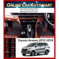 BOSOKO 5D CARPET For Toyota Avanza (F650) (2011-Present) Car Floor Mat Carpet Full Set (Black + Red Lining)(Made In Malaysia)