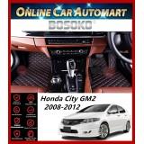 BOSOKO 5D CARPET For Honda City (GM2) (2008-2014) Car Floor Mat Carpet Full Set (Black + Red Lining)(Made In Malaysia)