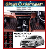 BOSOKO 5D CARPET For Honda City FB (2012-2015) Car Floor Mat Carpet Full Set (Black + Red Lining)(Made In Malaysia)