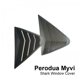 Perodua Myvi 2017-2019 Black  Rear Side Shark Louver Window Cover Triangle Mirror Protector