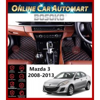 BOSOKO 5D CARPET For Mazda Mazda 3 (2008-2013) Car Floor Mat Carpet Full Set (Black + Red Lining)(Made In Malaysia)