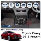 TRAPO Customize Car Floor Mat for Toyota Camry 2019-Present Black Base with Red Lining,Grey Lining,Blue Lining,Black Lining) Choose The Colour In Colour Family