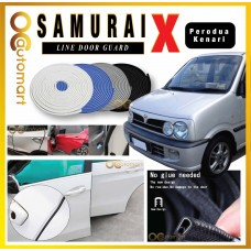 Samurai X Car Door Edge Guards 16Ft (5M) Rubber Car Door Protector Car Door Trim Perodua Kenari (4 Door) (Black,White,Gray,Blue,Red)