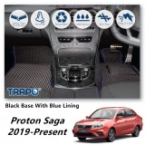 Proton Saga VVT 2019-Present TRAPO Customize Car Floor Mat Black Base with Red Lining,Grey Lining,Blue Lining,Black Lining) Choose The Colour In Colour Family