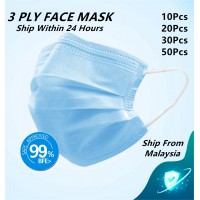 [Ready Stock] Ship Within 24 Hours 3 Ply Mask Face Mask Adult Size 3 Layer Disposable Waterproof Non Woven 10pcs 20pcs 30pcs or 50pcs Ship From Malaysia