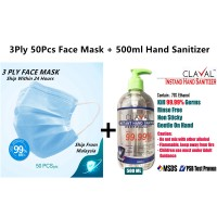 [READY STOCK] Package Sanitizer and Face Mask CLAVAL 500ml Gel Type INSTANT HAND SANITIZER And 3 Ply Mask Face Mask Adult Size 3 Layer Non Woven