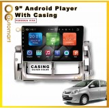 Android Player 9 inch IPS 2.5D full HD screen with player casing Perodua Viva (Silver)