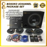 """PACKAGE SET BOSOKO 4Channel AMPLIFIER,12"""" woofer with box,Component spk ,2Way speaker,Power Cable Wiring Set with FUSE"""