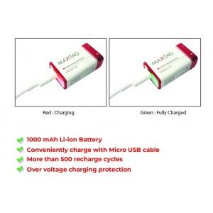 MaxTag / Smart Tag 9V 1000 mAh Li-ion Micro USB Rechargeable Battery