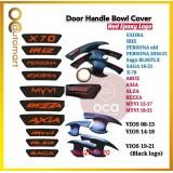 Door Handle Inner Bowl Inserts Cover Matte Black Logo Red Epoxy Logo -Proton Perodua Toyota