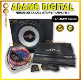"""Adams Digital Mono Block Amplifier Package Set With 12 Inch Woofer With Box MonoBlock Amp 12"""" SubWoofer Wire Kit"""