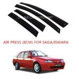 Air Press Car Window Door Visor Wind Deflector Anti UV Light 8cm (4PCS/SET) for Proton Saga/Iswara