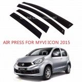 Air Press Car Window Door Visor Wind Deflector Anti UV Light 8cm (4PCS/SET) for Perodua Myvi Icon Yr 2015