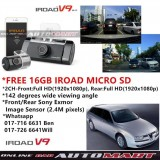 Alfa Romeo 156-IROAD V9 DVR RECORDER FRONT + REAR FULL HD1920 NIGHT VISION 24 HOUR RECORD WIFI