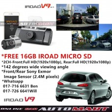 Alfa Romeo 147-IROAD V9 DVR RECORDER FRONT + REAR FULL HD1920 NIGHT VISION 24 HOUR RECORD WIFI